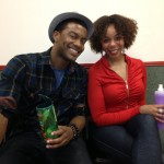 Joshua Boone and Soara-Joye Ross break for a beverage